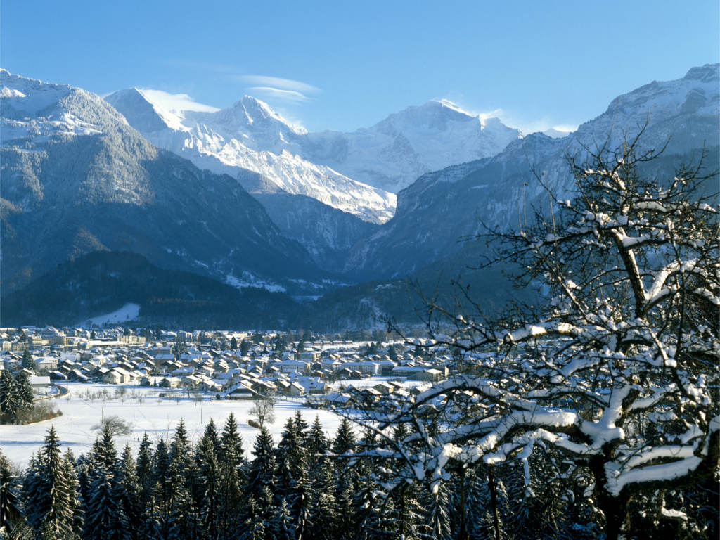 Interlaken Winter Luftbild 2